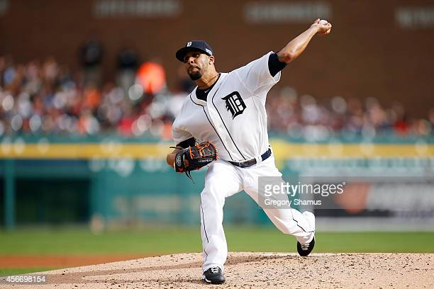 David Price of the Detroit Tigers pitches in the second inning against the Baltimore Orioles during Game Three of the American League Division Series...