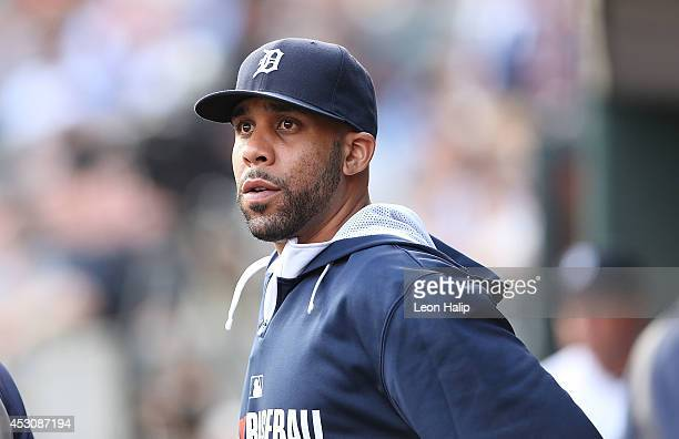 David Price of the Detroit Tigers watches the action from the dugout during the game against the Colorado Rockies at Comerica Park on August 2 2014...
