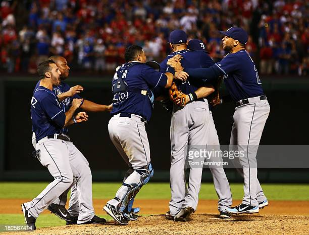 David Price of the Tampa Bay Rays celebrates with teammates after defeating the Texas Rangers 5 to 2 in the American League Wild Card tiebreaker game...