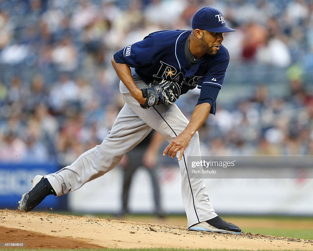 <a gi-track='captionPersonalityLinkClicked' href=/galleries/search?phrase=David+Price+-+Baseball+Player&family=editorial&specificpeople=4961936 ng-click='$event.stopPropagation()'>David Price</a> #14 of the Tampa Bay Rays delivers a pitch against the New York Yankees during the second inning in a MLB baseball game at Yankee Stadium on July 1, 2014 in the Bronx borough of New York City.