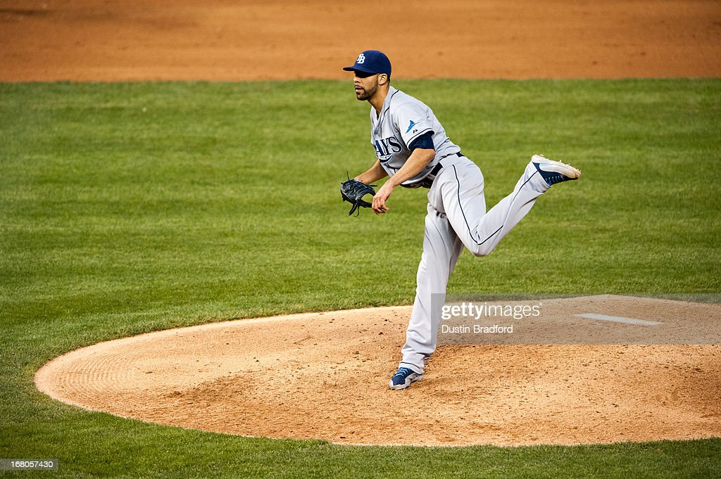 <a gi-track='captionPersonalityLinkClicked' href=/galleries/search?phrase=David+Price+-+Baseball+Player&family=editorial&specificpeople=4961936 ng-click='$event.stopPropagation()'>David Price</a> #14 of the Tampa Bay Rays follows through on a pitch against the Colorado Rockies at Coors Field on May 4, 2013 in Denver, Colorado.