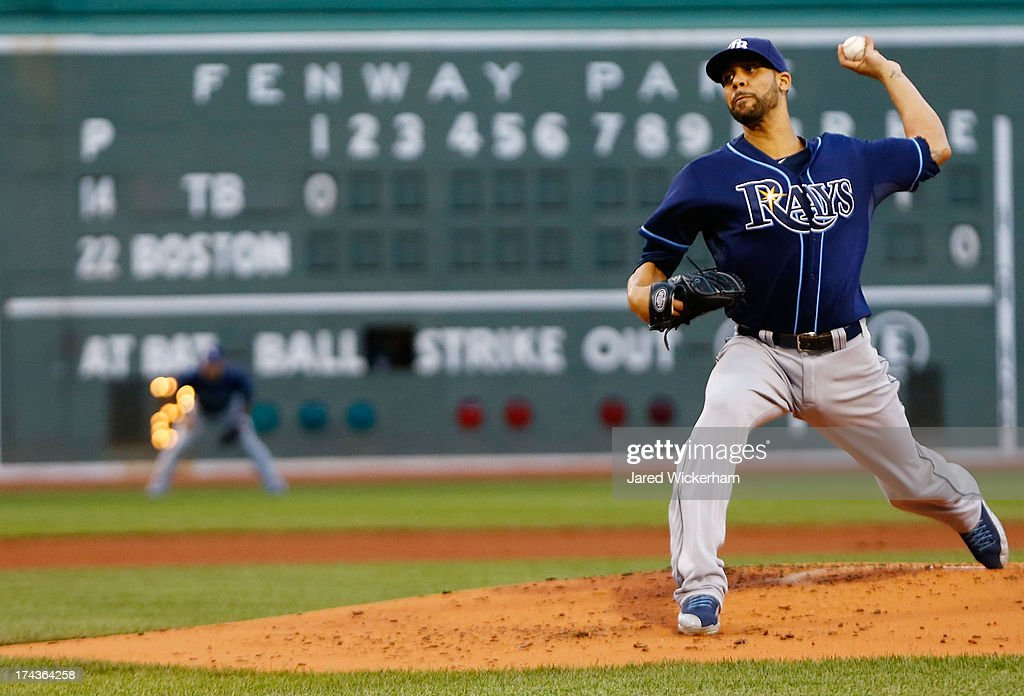 David Price #14 of the Tampa Bay Rays pitches against the Boston Red Sox during the game on July 24, 2013 at Fenway Park in Boston, Massachusetts.