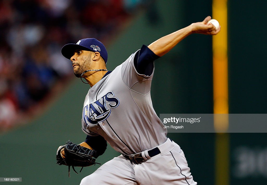 David Price #14 of the Tampa Bay Rays pitches against the Boston Red Sox during Game Two of the American League Division Series at Fenway Park on October 5, 2013 in Boston, Massachusetts.