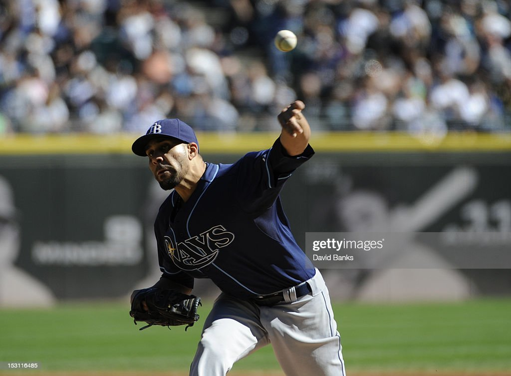 <a gi-track='captionPersonalityLinkClicked' href=/galleries/search?phrase=David+Price+-+Baseball+Player&family=editorial&specificpeople=4961936 ng-click='$event.stopPropagation()'>David Price</a> #14 of the Tampa Bay Rays pitches against the Chicago White Sox in the first inning on September 30, 2012 at U.S. Cellular Field in Chicago, Illinois.
