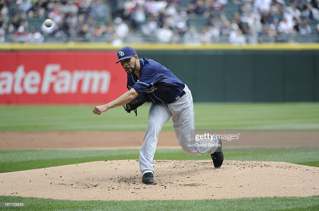 David Price #14 of the Tampa Bay Rays pitches against the Chicago White Sox during the first inning on April 28, 2013 at U.S. Cellular Field in Chicago, Illinois.