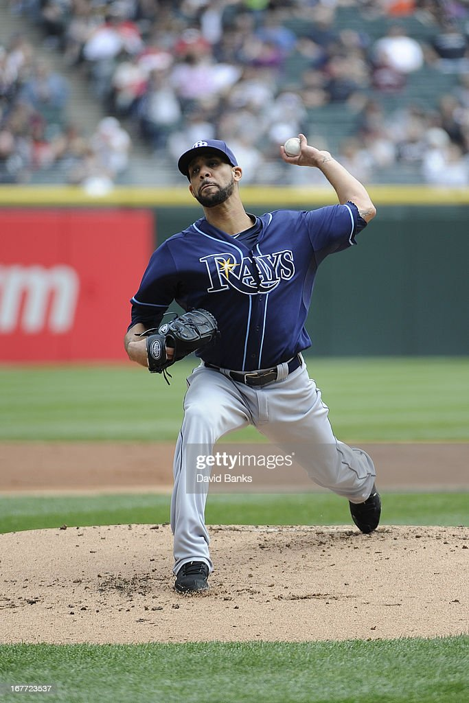 <a gi-track='captionPersonalityLinkClicked' href=/galleries/search?phrase=David+Price+-+Baseball+Player&family=editorial&specificpeople=4961936 ng-click='$event.stopPropagation()'>David Price</a> #14 of the Tampa Bay Rays pitches against the Chicago White Sox during the first inning on April 28, 2013 at U.S. Cellular Field in Chicago, Illinois.