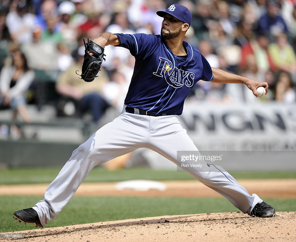 David Price #14 of the Tampa Bay Rays pitches against the Chicago White Sox on April 28, 2013 at U.S. Cellular Field in Chicago, Illinois. The Rays defeated the White Sox 8-3.