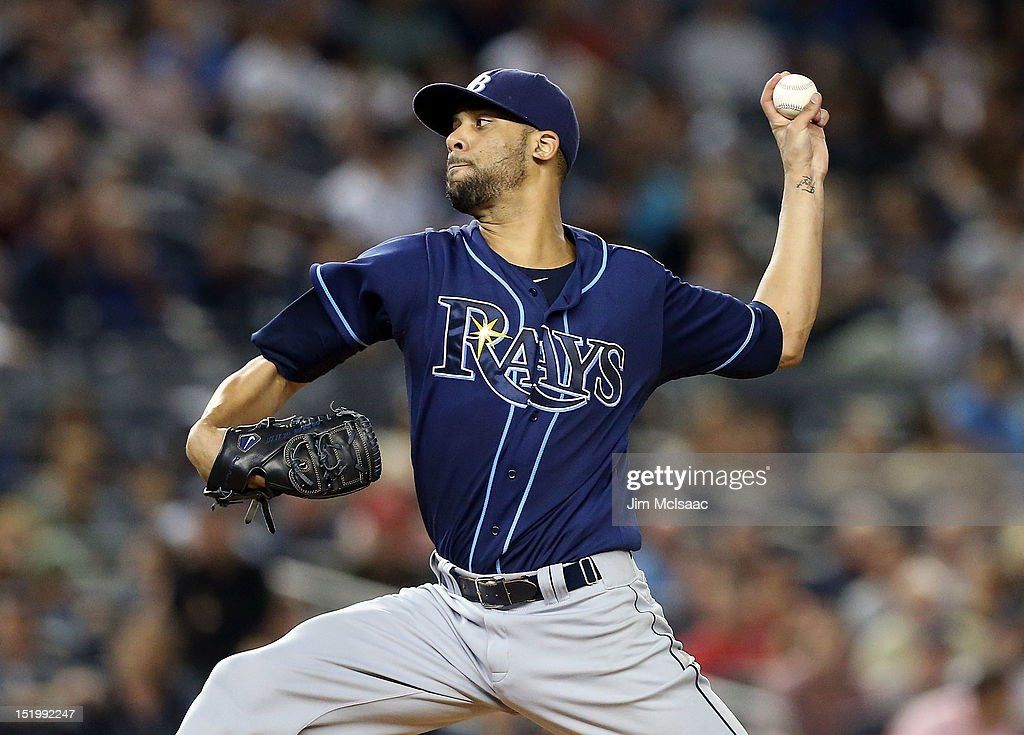 David Price #14 of the Tampa Bay Rays pitches against the New York Yankees at Yankee Stadium on September 14, 2012 in the Bronx borough of New York City.
