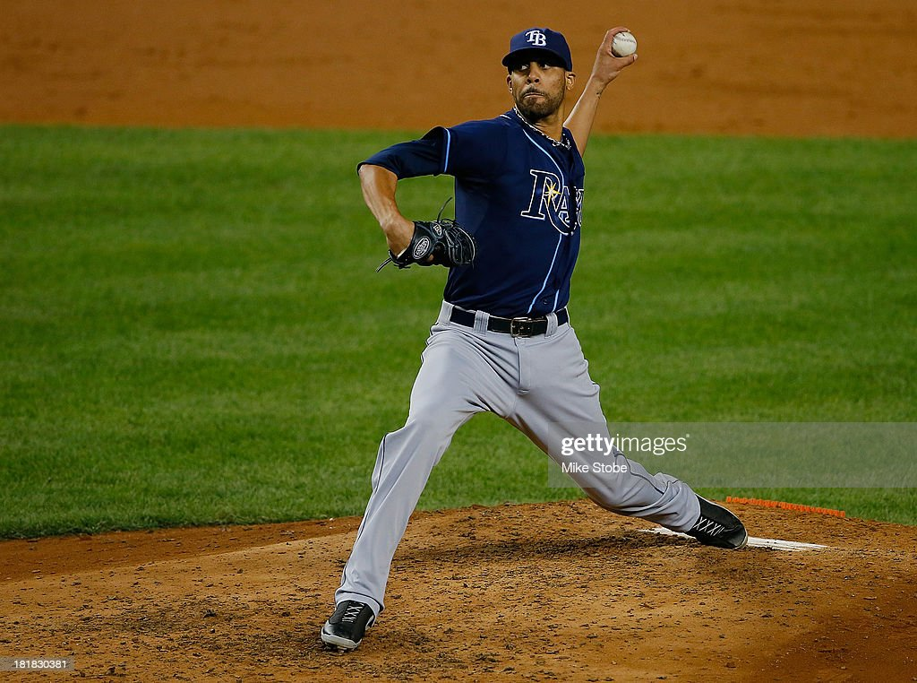 David Price #14 of the Tampa Bay Rays pitches against the New York Yankees at Yankee Stadium on September 25, 2013 in the Bronx borough of New York City. Rays defeated the Yankees 8-3.