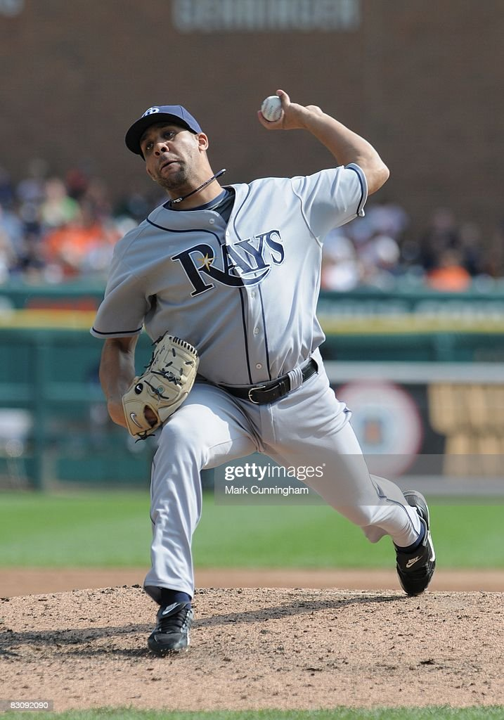 <a gi-track='captionPersonalityLinkClicked' href=/galleries/search?phrase=David+Price+-+Baseball+Player&family=editorial&specificpeople=4961936 ng-click='$event.stopPropagation()'>David Price</a> of the Tampa Bay Rays pitches during the game against the Detroit Tigers at Comerica Park in Detroit, Michigan on September 28, 2008. The Rays defeated the Tigers 8-7.