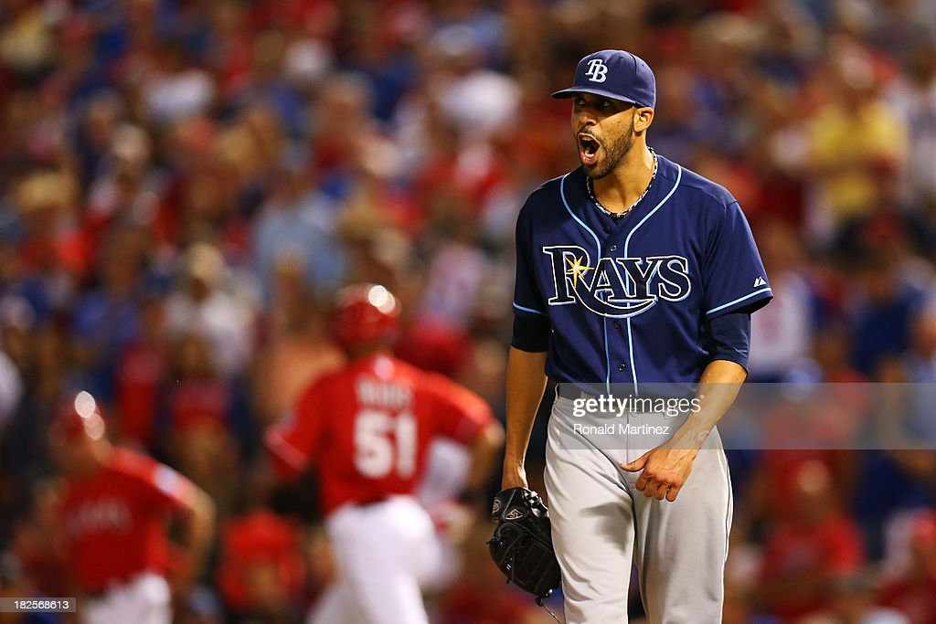 <a gi-track='captionPersonalityLinkClicked' href=/galleries/search?phrase=David+Price+-+Baseball+Player&family=editorial&specificpeople=4961936 ng-click='$event.stopPropagation()'>David Price</a> #14 of the Tampa Bay Rays reacts after the final out of the eighth inning against the Texas Rangers during the American League Wild Card tiebreaker game at Rangers Ballpark in Arlington on September 30, 2013 in Arlington, Texas.