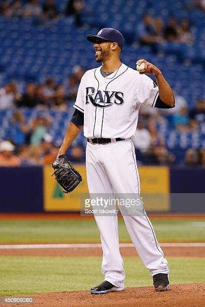David Price of the Tampa Bay Rays tosses the ball back after throwing his 1000th career strikeout during the second inning against the Houston Astros...