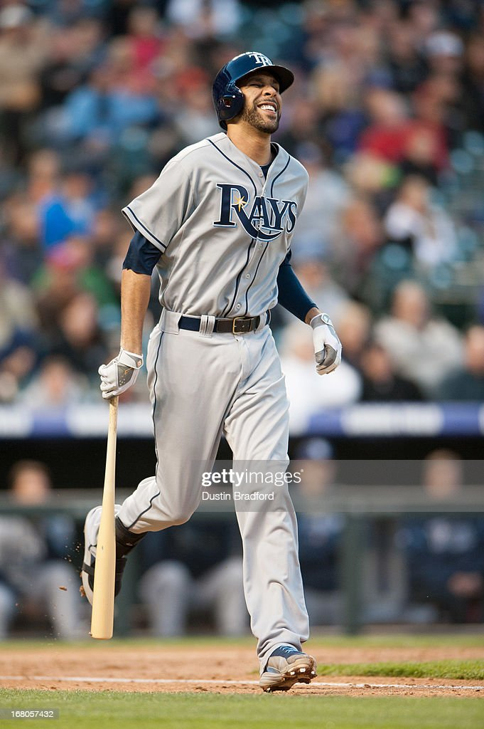 <a gi-track='captionPersonalityLinkClicked' href=/galleries/search?phrase=David+Price+-+Baseball+Player&family=editorial&specificpeople=4961936 ng-click='$event.stopPropagation()'>David Price</a> #14 of the Tampa Bay Rays winces after making contact with the ball during an at bat against the Colorado Rockies at Coors Field on May 4, 2013 in Denver, Colorado.