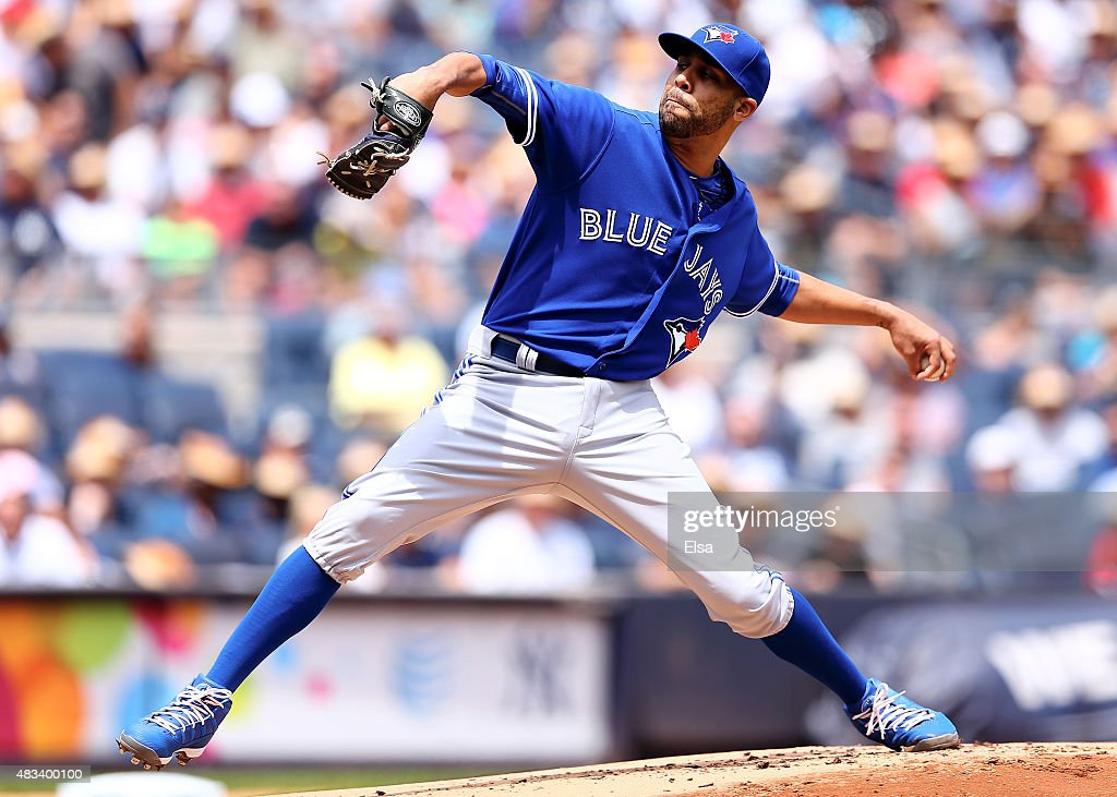 David Price #14 of the Toronto Blue Jays delivers a pitch in the first inning against the New York Yankees on August 8, 2015 at Yankee Stadium in the Bronx borough of New York City.