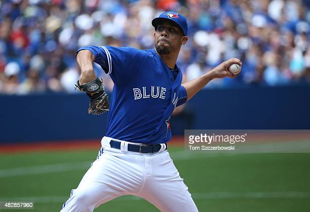 David Price of the Toronto Blue Jays delivers a pitch in the second inning during MLB game action against the Minnesota Twins on August 3 2015 at...