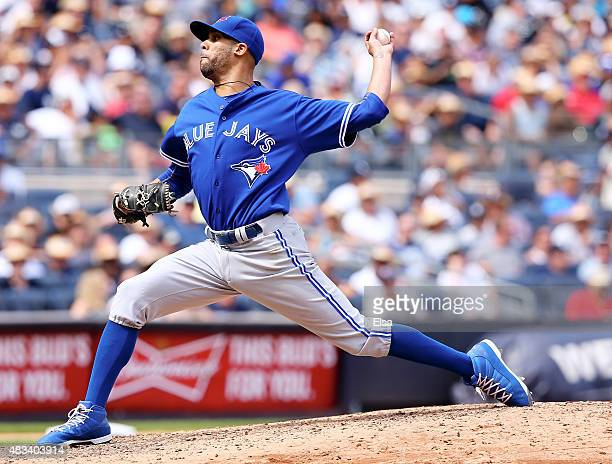 David Price of the Toronto Blue Jays delivers a pitch in the sixth inning against the New York Yankees on August 8 2015 at Yankee Stadium in the...
