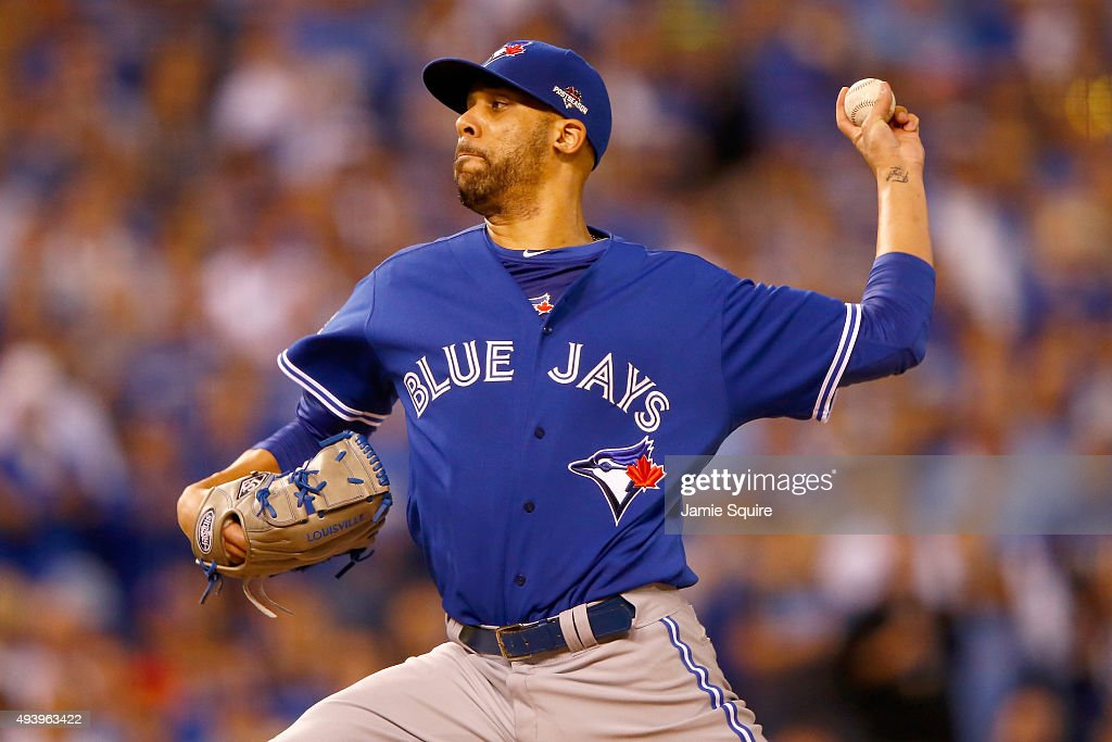 <a gi-track='captionPersonalityLinkClicked' href=/galleries/search?phrase=David+Price+-+Baseball+Player&family=editorial&specificpeople=4961936 ng-click='$event.stopPropagation()'>David Price</a> #14 of the Toronto Blue Jays pitches in the first inning against the Kansas City Royals in game six of the 2015 MLB American League Championship Series at Kauffman Stadium on October 23, 2015 in Kansas City, Missouri.