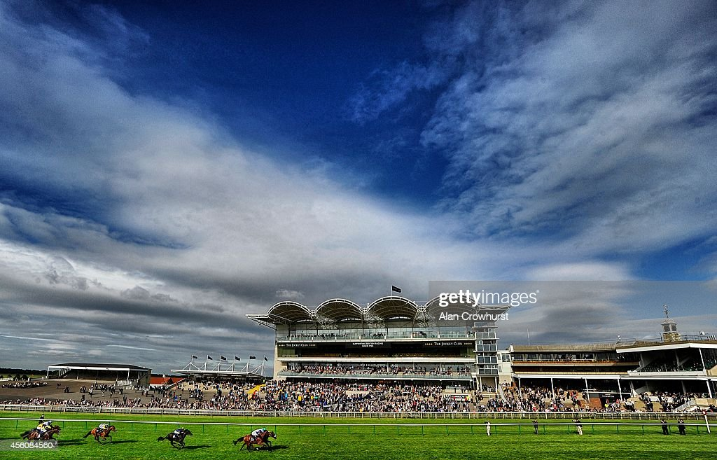 David Probert riding Der Meister win The turftraxcouk Sectional Timing At Newmarket Handicap Stakes at Newmarket racecourse on September 25 2014 in...