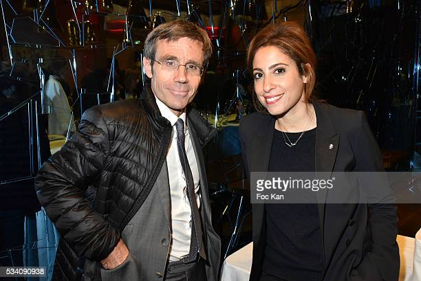 David Pujadas and Lea Salame attend Atlantico 5th Anniversary at Cafe Campana in Musee D'Orsay on May 24 2016 in Paris France