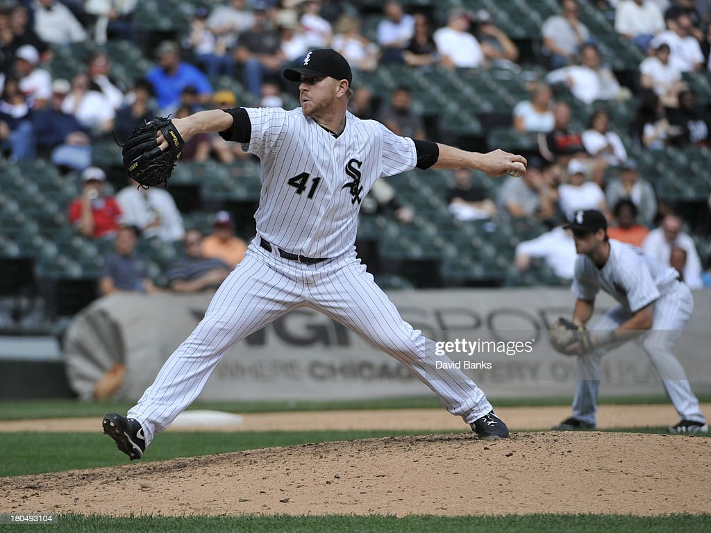 <a gi-track='captionPersonalityLinkClicked' href=/galleries/search?phrase=David+Purcey&family=editorial&specificpeople=809198 ng-click='$event.stopPropagation()'>David Purcey</a> #41 of the Chicago White Sox pitches against the Cleveland Indians during the sixth inning on September 13, 2013 at U.S. Cellular Field in Chicago, Illinois.