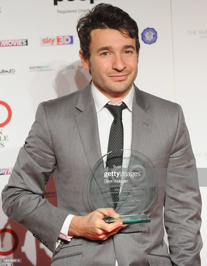 David Raedeker poses in The London Film Critics Film Awards press room on January 20, 2013 in London, England.