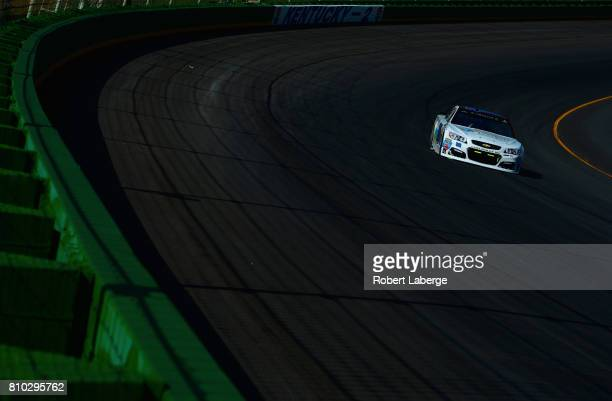 David Ragan driver of the Brandeis/Komatsu Ford drives during practice for the Monster Energy NASCAR Cup Series Quaker State 400 presented by Advance...