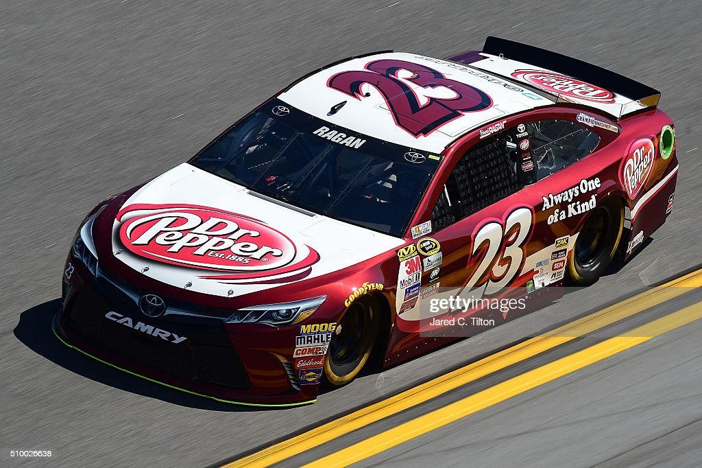<a gi-track='captionPersonalityLinkClicked' href=/galleries/search?phrase=David+Ragan&family=editorial&specificpeople=574874 ng-click='$event.stopPropagation()'>David Ragan</a>, driver of the #23 Dr Pepper Toyota, during practice for the NASCAR Sprint Cup Series Daytona 500 at Daytona International Speedway on February 13, 2016 in Daytona Beach, Florida.