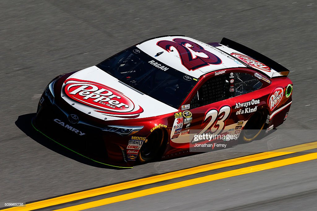 <a gi-track='captionPersonalityLinkClicked' href=/galleries/search?phrase=David+Ragan&family=editorial&specificpeople=574874 ng-click='$event.stopPropagation()'>David Ragan</a>, driver of the #23 Dr Pepper Toyota, practices for the NASCAR Sprint Cup Series Daytona 500 at Daytona International Speedway on February 13, 2016 in Daytona Beach, Florida.