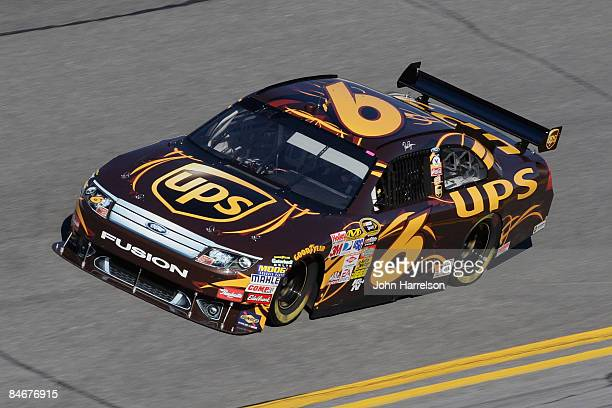 David Ragan driver of the UPS Ford drives during practice for the Budweiser Shootout at Daytona International Speedway on February 6 2008 in Daytona...