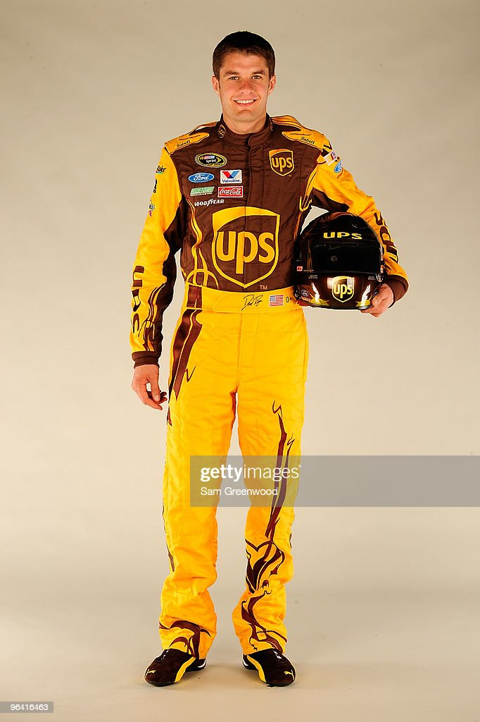 <a gi-track='captionPersonalityLinkClicked' href=/galleries/search?phrase=David+Ragan&family=editorial&specificpeople=574874 ng-click='$event.stopPropagation()'>David Ragan</a>, driver of the #6 UPS Ford, poses during NASCAR media day at Daytona International Speedway on February 4, 2010 in Daytona Beach, Florida.
