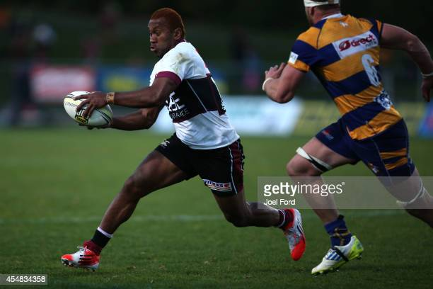 David Raikuna of North Harbour runs with the ball during the ITM Cup match between Bay of Plenty and North Harbour on September 7 2014 in Rotorua New...