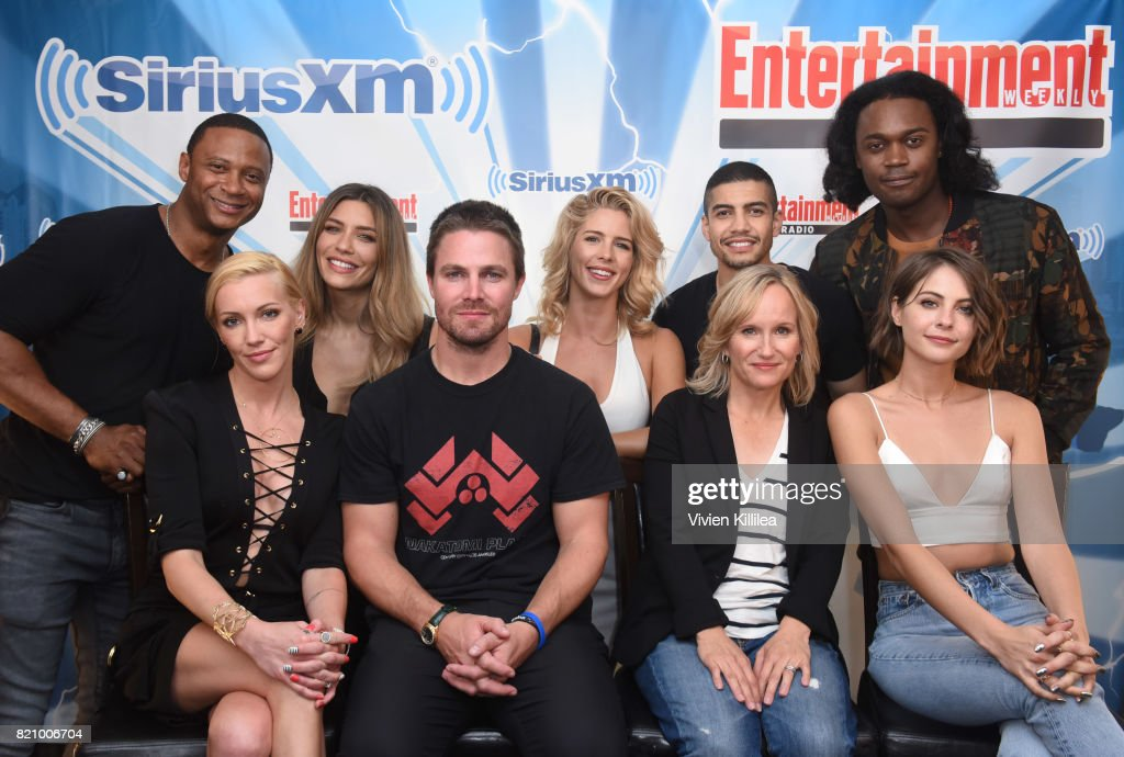 David Ramsey, Katie Cassidy, Juliana Harkavy, Stephen Amell, Emily Bett Rickards, Rick Gonzalez, Wendy Mericle, Echo Kellum and Willa Holland attend SiriusXM's Entertainment Weekly Radio Channel Broadcasts From Comic Con 2017 at Hard Rock Hotel San Diego on July 22, 2017 in San Diego, California.