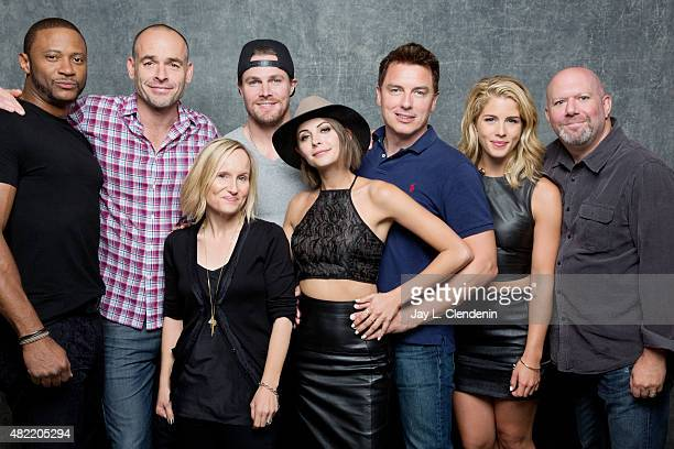 David Ramsey Paul Blackthorne Wendy Mericle Stephen Amell Willa Holland John Barrowman Emily Bett Rickards Marc Guggenheim of 'Arrow' pose for a...