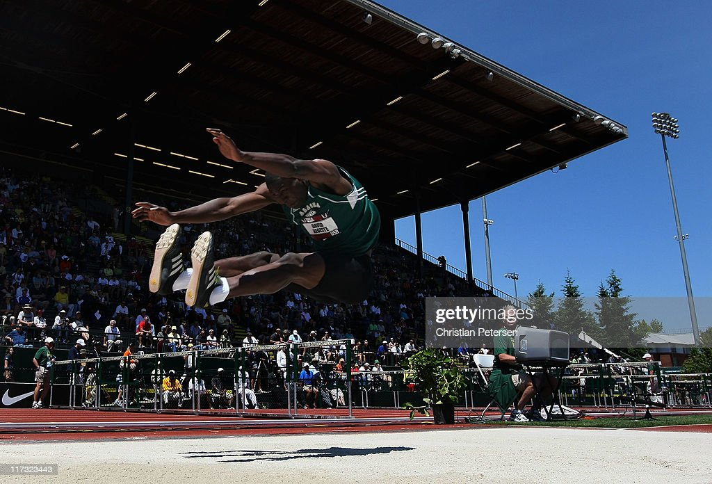 David Registe competes in the Men's long jump on day three of the USA Outdoor Track & Field Championships at the Hayward Field on June 25, 2011 in Eugene, Oregon.