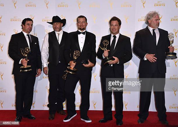David Reichart Todd Stanley Steven Wright Breck Warwick and Matt Fahey winners of the awards for cinematography reality programming for 'Deadliest...