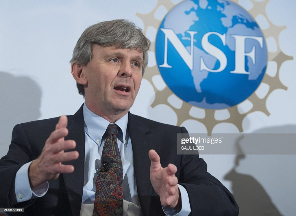 David Reitze, executive director of LIGO, speaks during an announcement that scientists have observed the ripples in the fabric of spacetime called gravitational waves for the first time, confirming a prediction of Albert Einstein's theory of relativity, during a press conference at the National Press Club in Washington, DC, February 11, 2016. The machines that gave scientists their first-ever glimpse at gravitational waves are the most advanced detectors ever built for sensing tiny vibrations in the universe.The two US-based underground detectors are known as the Laser Interferometer Gravitational-wave Observatory, or LIGO for short. LOEB