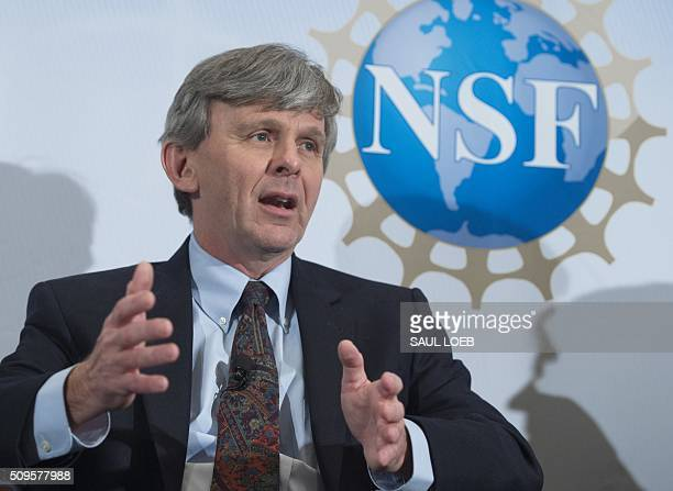 David Reitze executive director of LIGO speaks during an announcement that scientists have observed the ripples in the fabric of spacetime called...