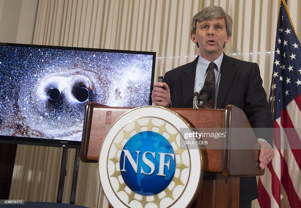 David Reitze, executive director of the LIGO Laboratory at Caltech, announces that scientists have observed ripples in the fabric of spacetime called gravitational waves for the first time, confirming a prediction of Albert Einstein's theory of relativity, during a press conference at the National Press Club in Washington, DC, February 11, 2016. The machines that gave scientists their first-ever glimpse at gravitational waves are the most advanced detectors ever built for sensing tiny vibrations in the universe.The two US-based underground detectors are known as the Laser Interferometer Gravitational-wave Observatory, or LIGO for short. LOEB