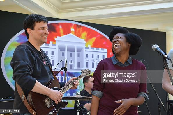 David Remnick and LaChrisha Brown reherse at the 2015 White House Correspondents' Jam at the Fairmont Hotel on April 24 2015 in Washington DC