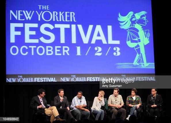 David Remnick Seth Meyers Kenan Thompson Kristen Wiig Jason Sudeikis Andy Samberg and Fred Armisen during the 2010 New Yorker Festival at Acura at...
