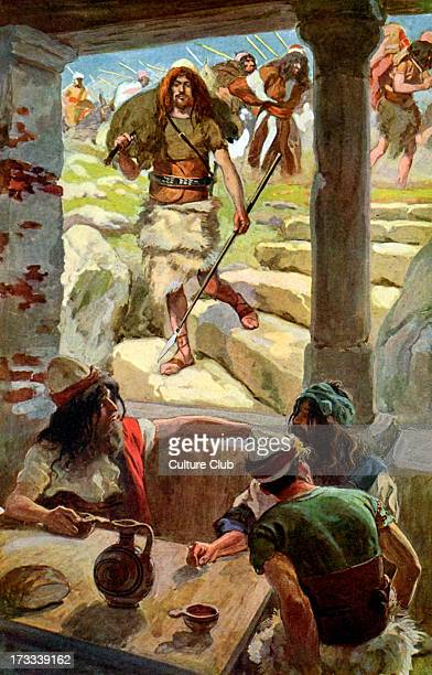 David returns to Achish by J James Tissot Illustration to book of Samuel I 279 'And David smote the land and left neither man nor woman alive and...