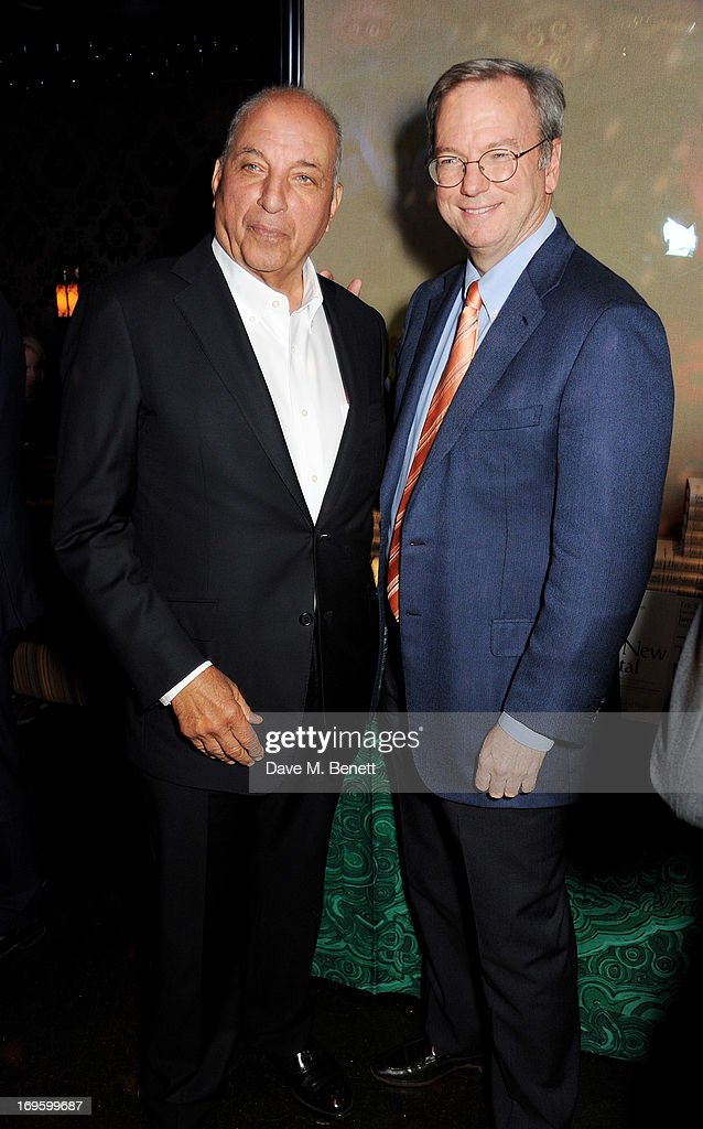 David Reuben (L) and Eric Schmidt, Executive Chairman of Google, attend the launch of 'The New Digital Age: Reshaping The Future Of People, Nations and Business' by Eric Schmidt and Jared Cohen, hosted by Jamie Reuben, at Loulou's on May 28, 2013 in London, England.