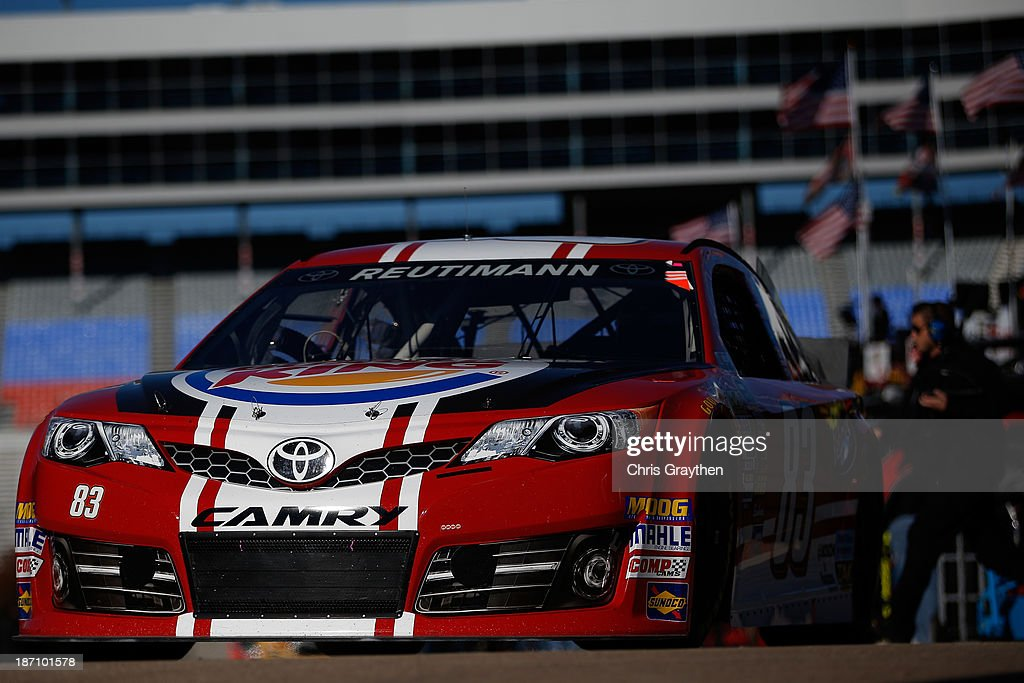 David Reutimann, driver of the #83 Burger King / Dr. Pepper Toyota, during practice for the NASCAR Sprint Cup Series AAA Texas 500 at Texas Motor Speedway on November 2, 2013 in Fort Worth, Texas.