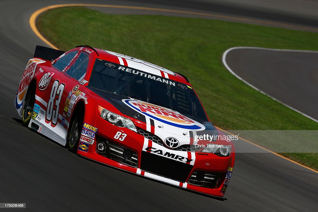 David Reutimann, driver of the #83 Burger King-Dr Pepper Toyota, drives during practice for the NASCAR Sprint Cup Series GoBowling.com 400 at Pocono Raceway on August 2, 2013 in Long Pond, Pennsylvania.