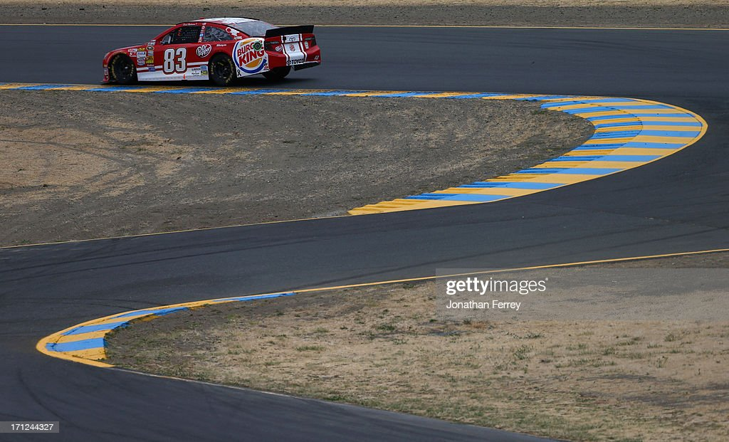 David Reutimann, driver of the #83 Burger King/Dr Pepper Toyota, drives during the NASCAR Sprint Cup Series Toyota/Save Mart 350 at Sonoma Raceway on June 23, 2013 in Sonoma, California.