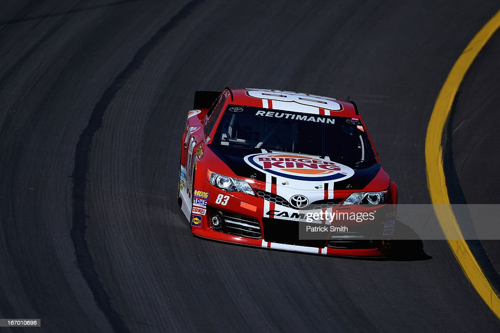 David Reutimann, driver of the #83 Burger King/Dr Pepper Toyota, practices for the NASCAR Sprint Cup Series STP 400 at Kansas Speedway on April 19, 2013 in Kansas City, Kansas.