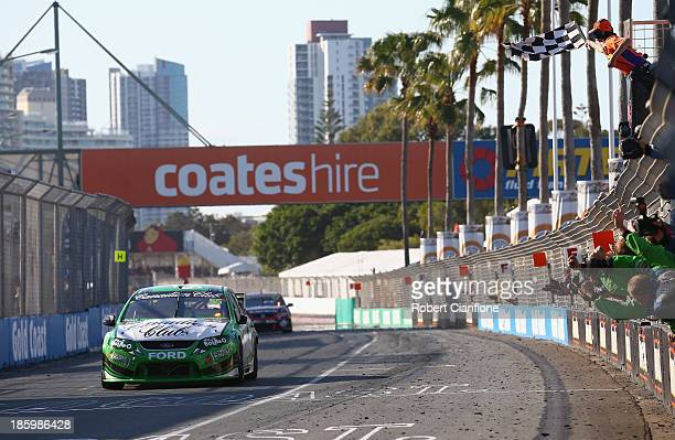 David Reynolds driving the The BottleO FPR Ford crosses the line to win race 31 of the Gold Coast 600 which is round 12 of the V8 Supercars...