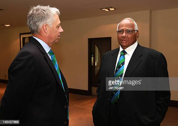 David Richardson and Sharad Pawar during the ICC Cricket Committee meeting at Lord's Cricket Ground on May 30 2012 in London England