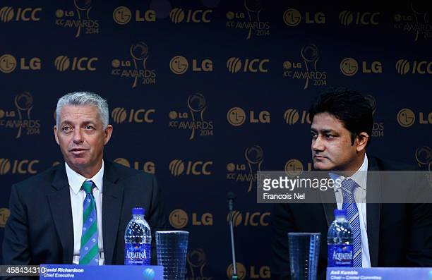 David Richardson ICC Chief Executive and Anil KumbleChairman of the ICC Cricket Commitee talks to the media at a press conference to announce the...