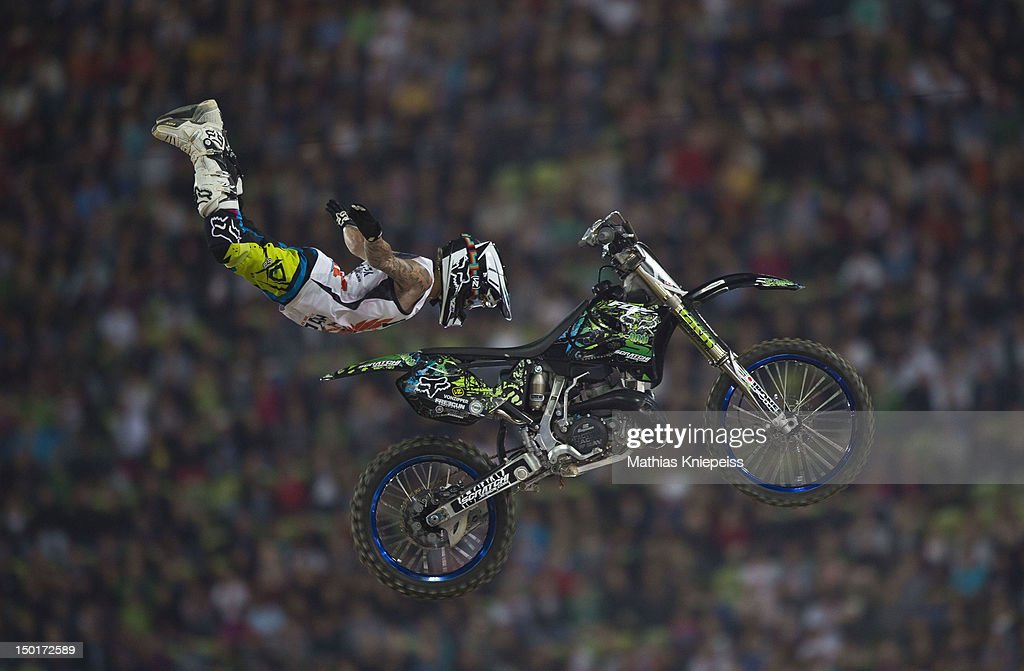 David Rinaldo of France in action during the Red Bull X-Fighters World Tour at Olympia stadium on August 11, 2012 in Munich, Germany.